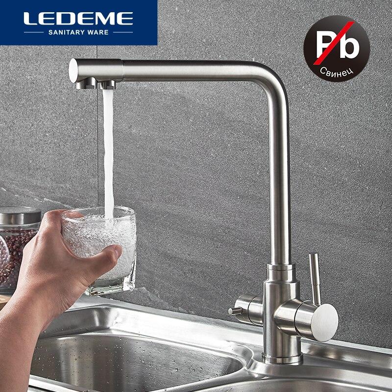 LEDEME robinet de cuisine avec eau filtrée Double bec Purification de l'eau en acier inoxydable cuisine robinet évier mélangeur grue L4355-3