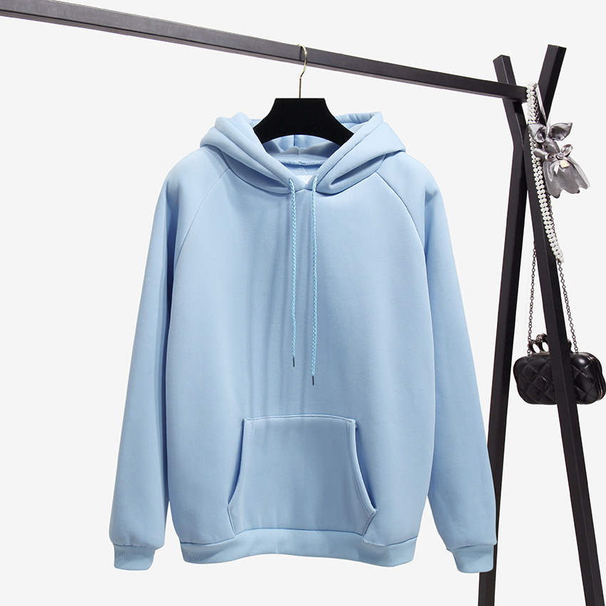 2018 Fashion Solid Color Autumn And Winter Plus Velvet Loose Women's Sweatshirt Hooded Collar Long Sleeve Casual Sky Blue Hoodie