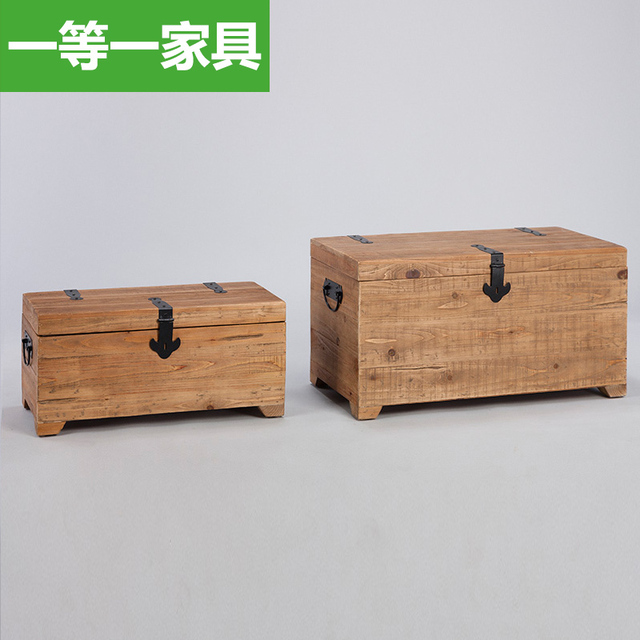 First A Furniture Wood Box Hidden Pirate Treasure Chest Vintage Clothes Storage  Box Storage Box American