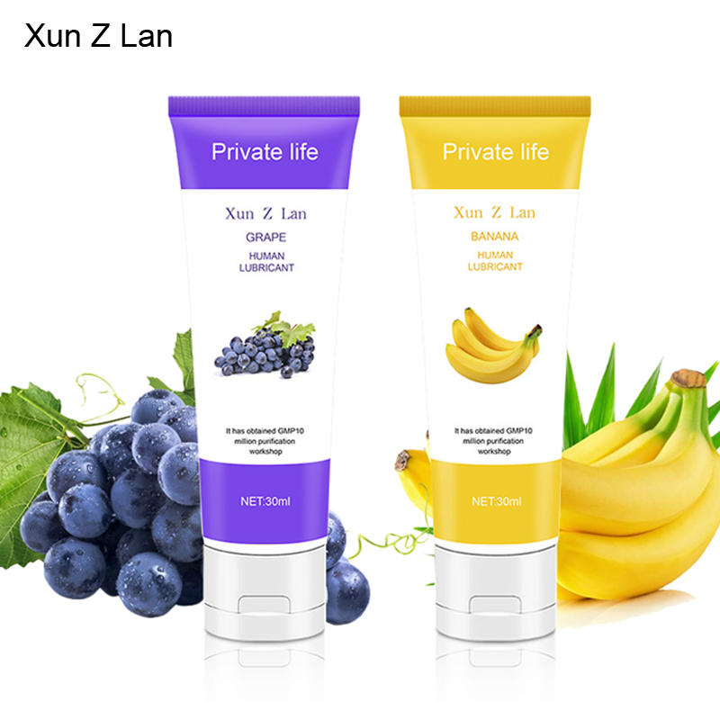 Banana Flavor Intimate Lubricant Grape Edible Fruit Flavour Lubricants Water Soluble Vagina Lubricating Anal Lube Oral Sex Gel(China)