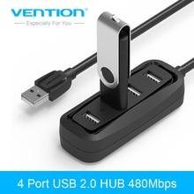 Vention 4 Порты и разъёмы USB HUB 2.0 Портативный OTG HUB 480 Мбит/с USB разветвитель с светодиодный светильник для ноутбука Apple MacBook планшетные ПК концентратор USB 2.0
