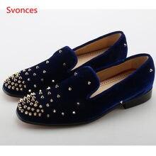 Slip On Studded Rivet Velvet Men Casual Shoes Autumn Designer Blue Suede  Mens Weddding Shoes Moccasins Men Flats New Men loafers f5481185ccf2