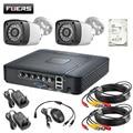 FUERS 4CH DVR система безопасности 2 шт Крытая наружная камера с 1ТБ 2ТБ HDD 4.0MP DVR дневная/Ночная DIY Kit Система видеонаблюдения