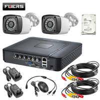 FUERS 4CH DVR Security System 2PCS Indoor Outdoor Camera With 1TB 2TB HDD 4.0MP DVR Day/Night DIY Kit Video Surveillance System