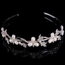 Women Elegant Pearl Clover Leaf Bridal Tiara Crown Hair Accessories Wedding Hairband Clear Crystal Rhinestone Headwear Headpiece