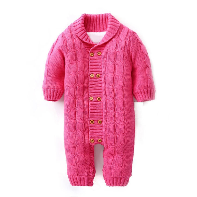 c52ad7e57fc Thick Cotton Warm Infant Baby Rompers Winter Clothes Newborn Baby Boy Girl  Knitted Sweater Jumpsuit Hooded. sku  32841959549