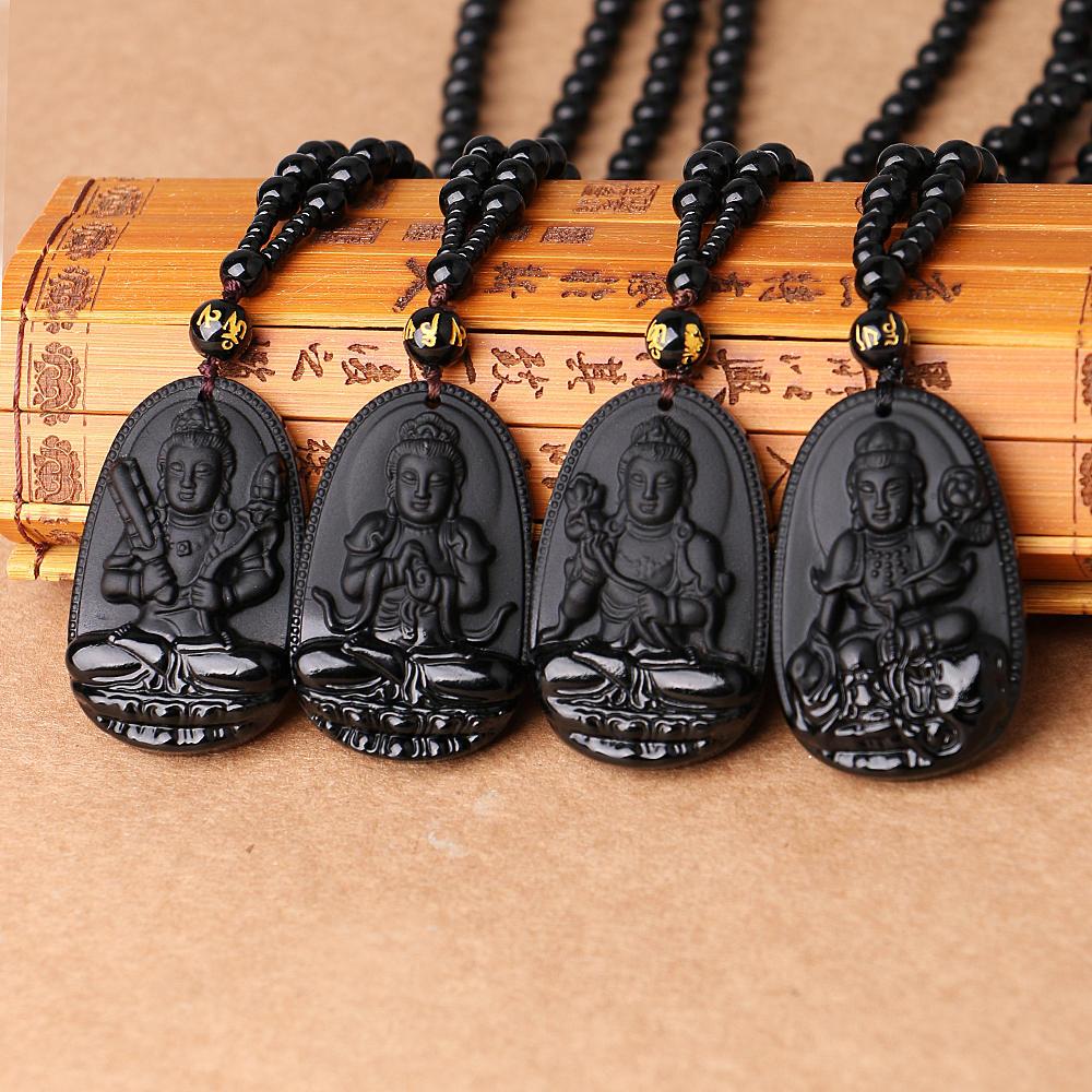 f33e07052ff0 Yumten obsidiana COLLAR COLGANTE de piedra Natural Buda guardián ...