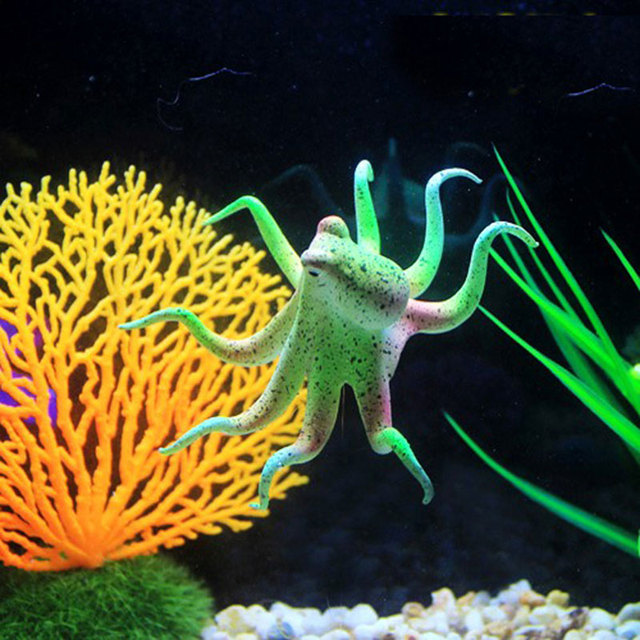 Aquarium Simulation Luminous Landscaping Ocean Green Octopus Squid, Puffer  Fish Tank Decorative Fairy