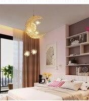 Modern LED Chandelier Lighting Moon Star Lamp Pendant Lamp Lustre Hanging Fixtures Child kids room Decor Light Fitting