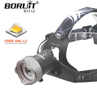 B13 Zoom * L2 Head light USB Led head Lamp zoomable Boruit Lights by 18650 Battery With Usb Cable