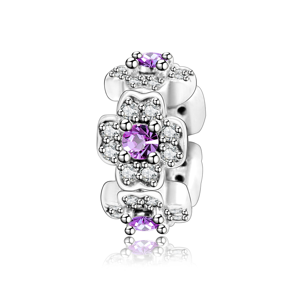 Fits Original Pandora Charms Bracelet DIY Jewelry Accessories 925 Sterling Silver Flower Spacer Charm Beads With Purple Clear CZ