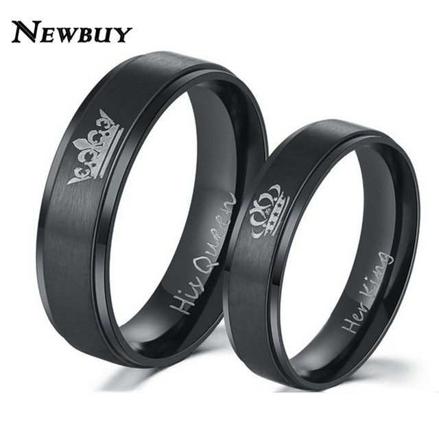 NEWBUY Fashion Couple Wedding Jewelry Black/Silver Color His Queen And Her King