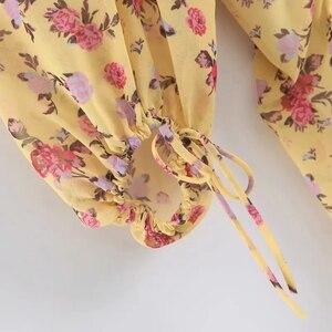 Image 5 - קיץ שמלת 2020 Boho פרחוני הדפסת שמלת נשים סקסי תחרה עד bow צהוב שמלת נקבה מקרית קוריאני בגדי מסיבת שמלה vestidos