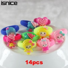 isnice 14 Pcs (7pairs) Cartoon Candy Color Elastic Hair ties Ropes Gum for Hair holder For Baby Girls hairpin Hair Accessories