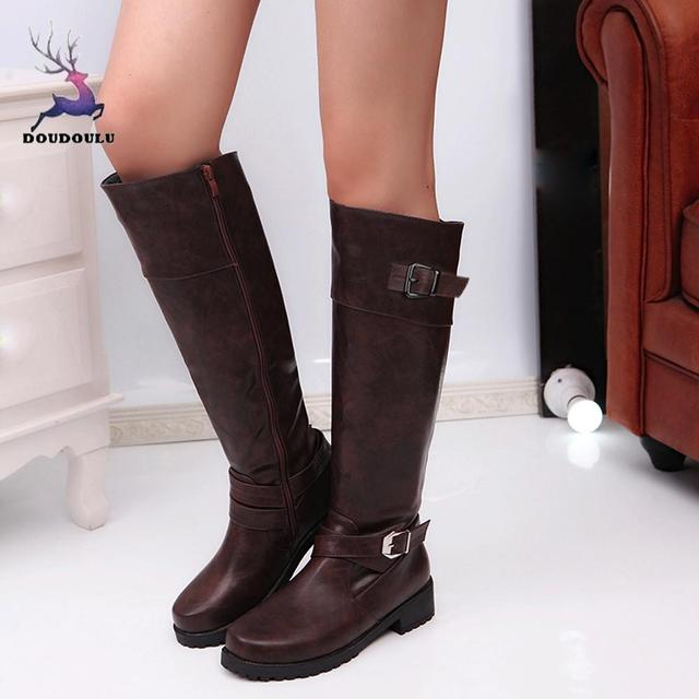 9ac108f6d81b Women Round Toe Mid Calf Boots Matte Leather Knight Boot Buckle Square Footwear  Shoes Woman zapatos de mujer Plus Size 35~43