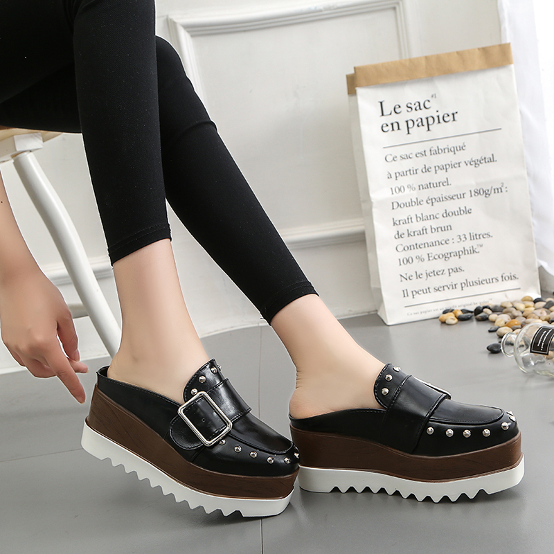 Lucyever Kvinnor Läder Skor High Platform Wedges Brun Slingbacks Pumps Mode Tjock Bottom Nitar Spänne Casual Shoes Woman