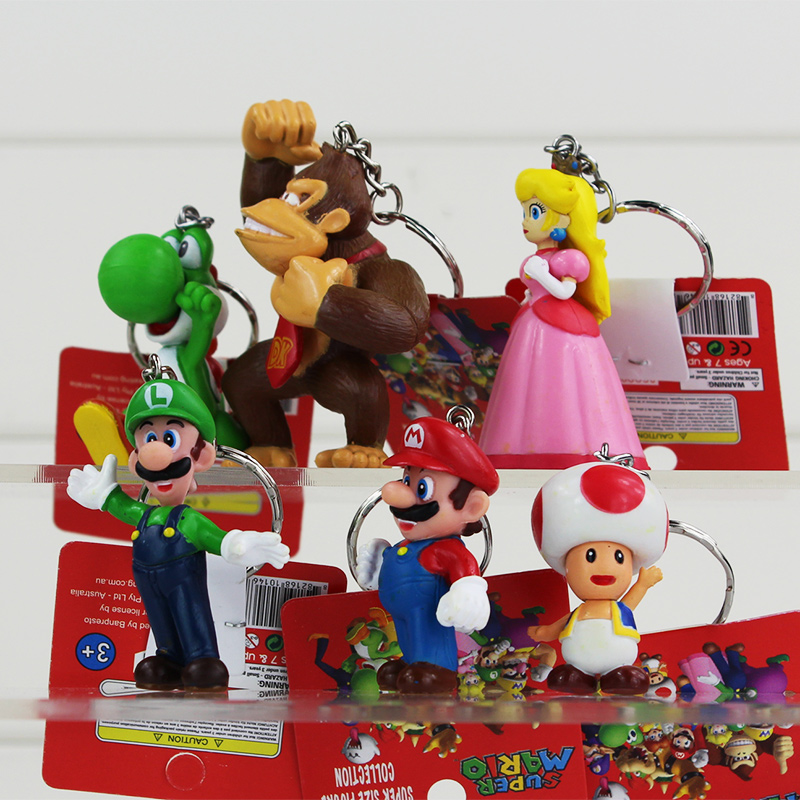 2016 Super Mario Figure Toys Donkey Kong Luigi Toad Mushroom Princess Yoshi  Key Chains Keyrings for Kids Baby Gifts 1