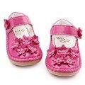 Alta Qualidade Bela Flor De Cristal de Couro PU sola Rubebr Rasa mocassins Bebê Sapatos Princesa Menina Do Bebê 1-3 Anos