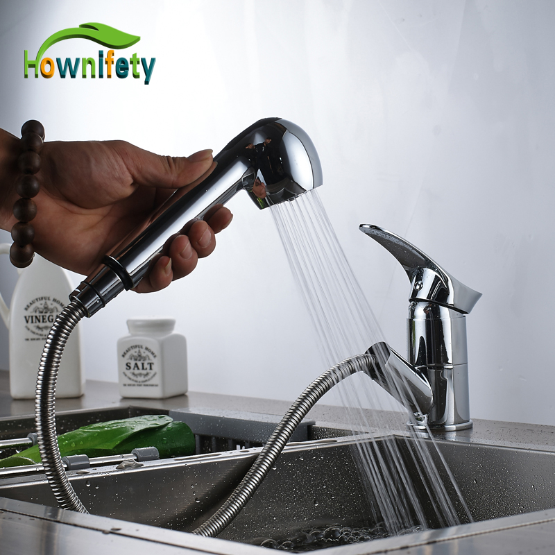 Free Shipping Chrome Polished Deck Mounted Kitchen Faucet Single Handle One Hole Pull Out Sink Mixers Washing Tap polished chrome deck mounted bathroom kitchen faucet tap single handle with brass soap dispenser
