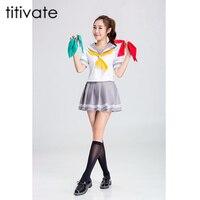 TITIVATE Anime Japonés Uniforme Escolar Marinero Tops + Tie + Falda Estilo Navy Ropa de Los Estudiantes de la Muchacha Más El Tamaño de la Animadora traje