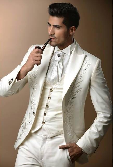 Chegada nova Do Marfim Bordado Festa de Casamento Dos Homens Ternos Do Noivo Smoking Padrinhos Best Man Custom Made (Jacket + Pants + colete) K: 164