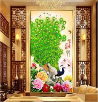 Custom mural photo 3d wallpaper Peony flowers green peacocks porch decor painting 3d wall murals wallpaper for living room