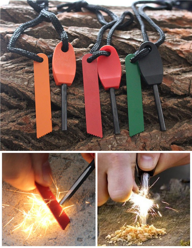 Free Shipping Camping outdoor survival equipment to make fire waterproof ferrocerium ribbon mini size flint magnesium rod
