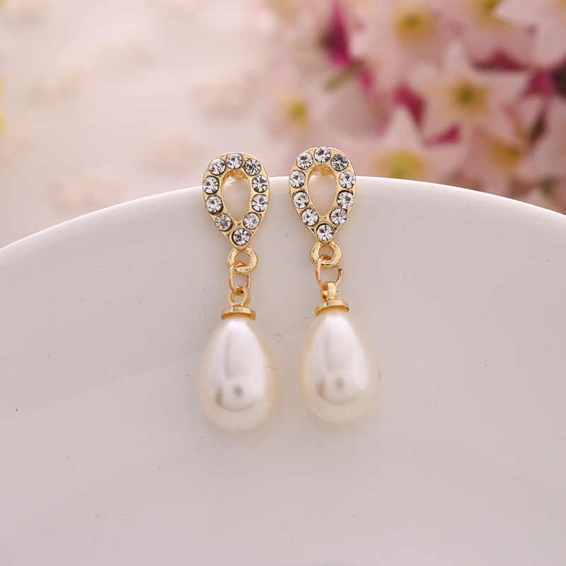 2018 Fashion Gold Crystal Dangle Drop Earrings Brincos Perle Pendientes Bou Pearl Earrings For Woman Pendientes Mujer Moda