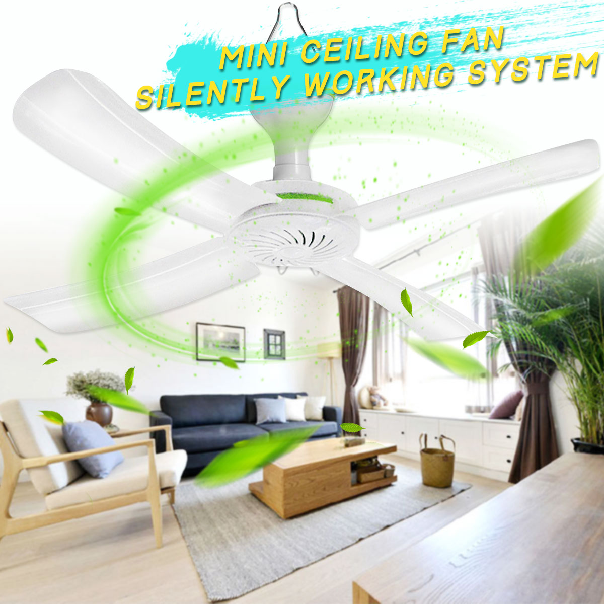 220V/250V AC 18W 4 Blades portable Mini Ceiling Fan Camping Home Indoor Hanging Summer Cooler Switch  With 1.5m Cable removable