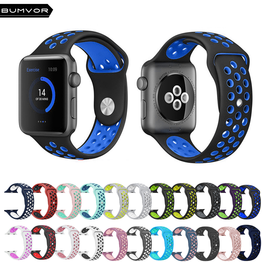 BUMVOR Couple Wristwatch For Apple Watch 40/44MM 38/42MM Silicone Strap For IWatch 5/4/3/2/1 Sport Band Official Waterproof +box