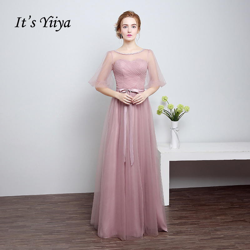 It's Yiiya new Real Photo O-neck Tulle Purple Green   Bridesmaid     dresses   Floor Length Straigth Long Party Formal   Dress   LF801-1