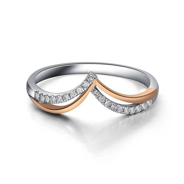 Real Diamond Ring 14K Solid White Gold Rose Gold Wedding Band Ring