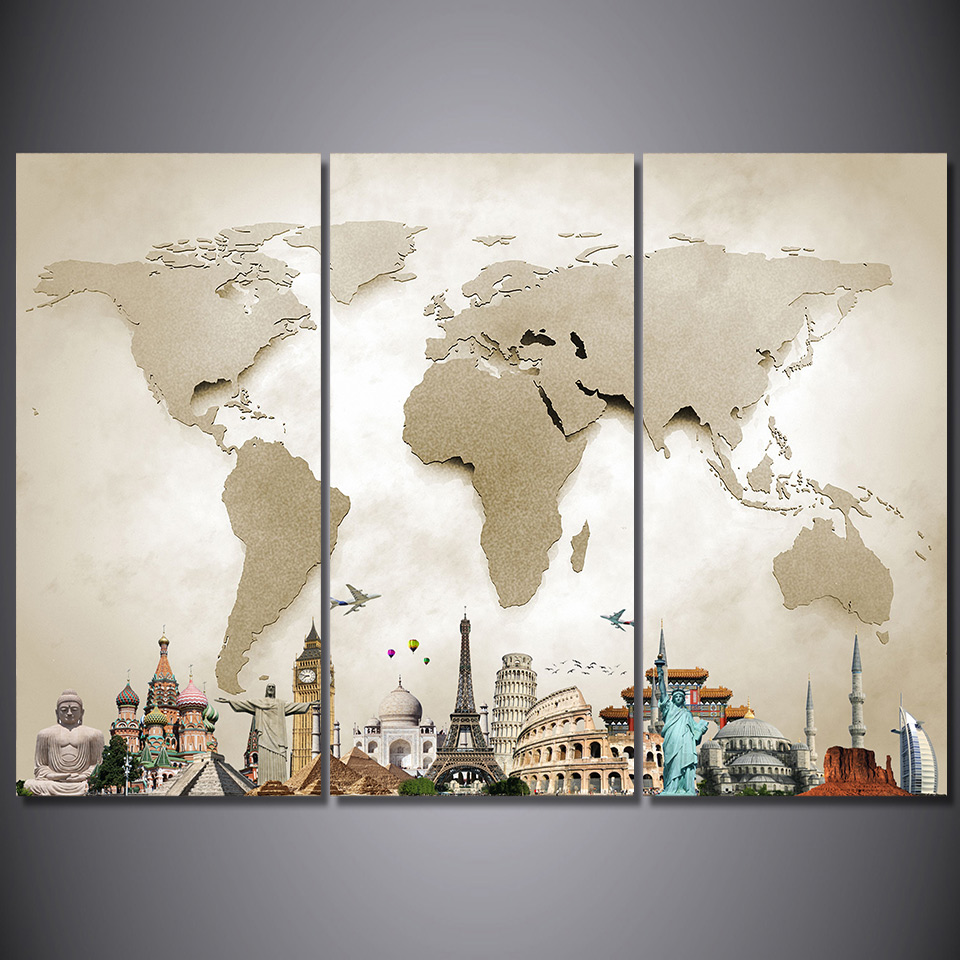 HD Printed 3 Piece Canvas Art Vintage World Map Painting Room Decor Framed Large Prints