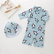 701af332bbbf7a Nowe letnie dziecko chłopiec stroje kąpielowe + kapelusz 2 sztuk zestaw  pingwin zwierzęta strój kąpielowy niemowlę maluch dzieci.