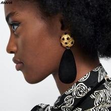 Hot Sale Vintage Resin Water Drop Earring For Women Boho Big Teardrop Statement Dangle Earring Party ZA Jewelry Gift Wholesale цена