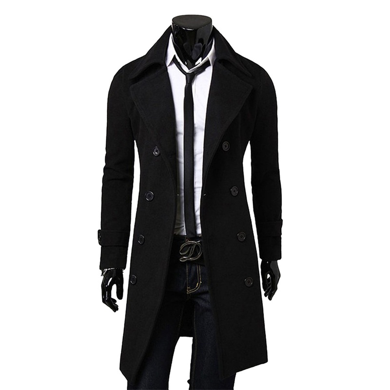 Daddy Chen Autumn Jacket Long Trench Coat Men Top Slim Black Male Overcoat Khaki Coat
