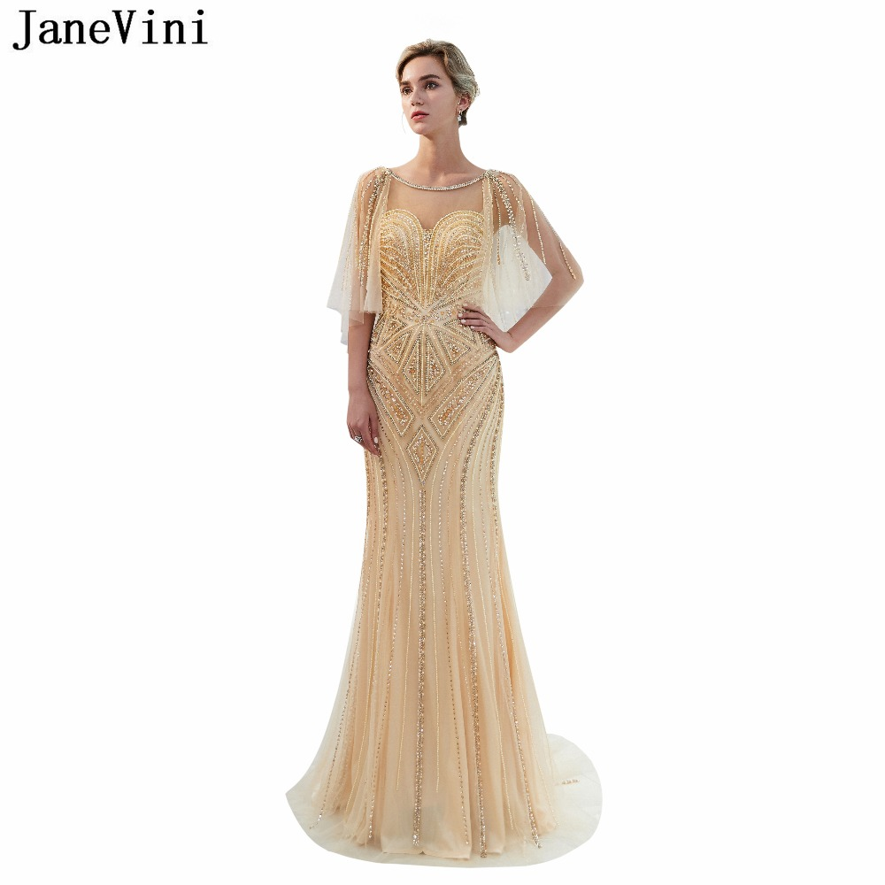JaneVini Luxury Scoop Neck Bridesmaid Dresses With Sequined Pearls 2018 Mermaid Long Sweep Train Backless Tulle Prom Party Gowns