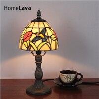 6 дюймов Европейский пастырской ретро стиль настольная лампа колибри и цветочным узором абажур спальня гостиная столовая огни