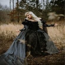 공 가운 중세 고딕 웨딩 드레스 실버와 블랙 르네상스 판타지 빅토리아 뱀파이어 긴 소매 브라 가운 2019