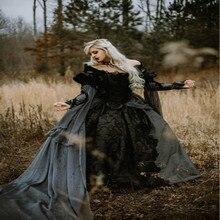 Ballkleid Medieval Gothic Hochzeit Kleider Silber und Schwarz Renaissance Fantasie Viktorianischen Vampire Langarm Brautkleid 2019