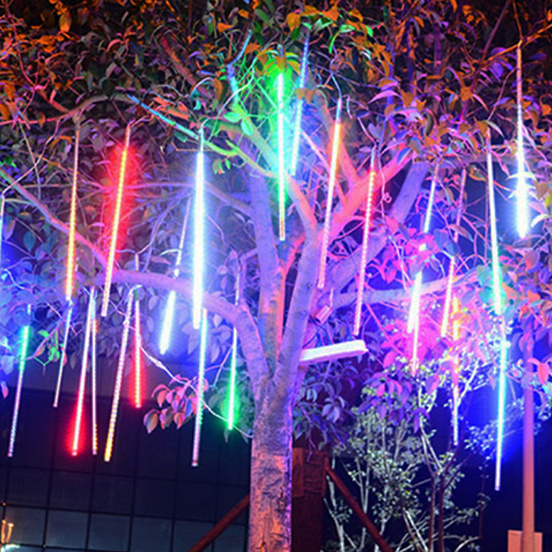 30cm 50cm 80cm Waterproof Meteor Shower Rain Tubes Led Light Lamp12v Eu Plug Christmas Light Wedding Garden Decoration Xmas