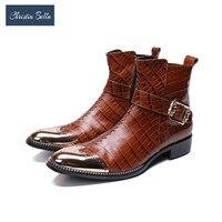 Кристиа Белла красивые зимние ботинки мужские римские коричневые мужские ботинки из натуральной кожи короткий металлический наконечник к