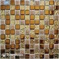 Бесплатная доставка Керамическая мозаичная плитка Золотая стеклянная мозаичная плитка для внутреннего дома декоративная настенная плитк...