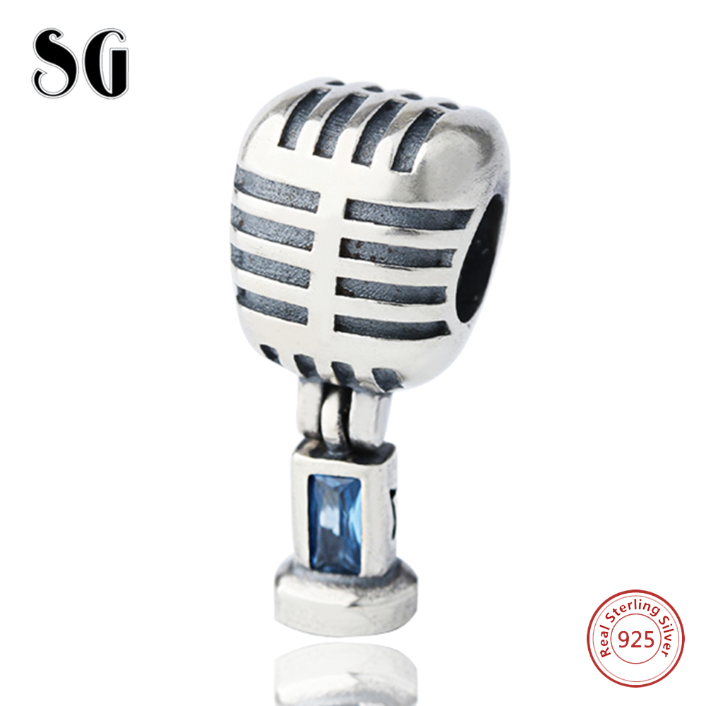 Music Microphone Cubic Zirconia Round Bead Girl Fit Authentic 925 Silver Pandora Charms Bracelet Beads For Women Fashion Jewelry