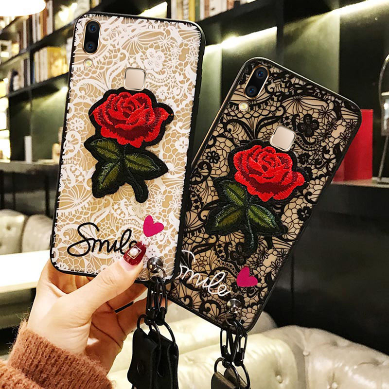 Fashion Sexy <font><b>3D</b></font> Rose Flower <font><b>Case</b></font> <font><b>Vivo</b></font> V9 Z1 V7 V5 V3 Lite Plus Nex A S Y81 Y83 Y85 Y71 Y53 <font><b>Y69</b></font> X21 UD X9S Plus Girl Lace Cover image
