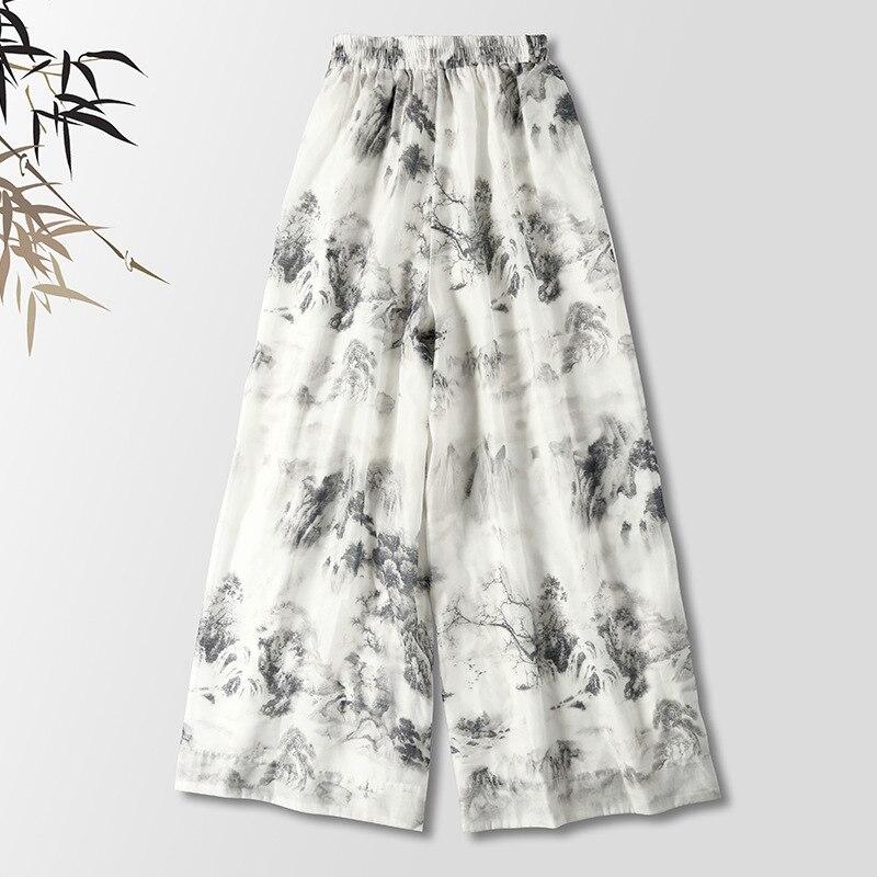 Original New Women's New Chinese Retro Style Casual   Pants   Zen Tea Ink Painting Literary   Wide     Leg     Pants