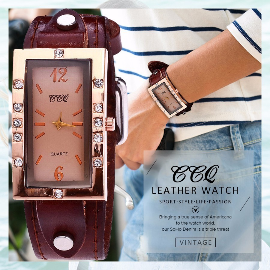 CCQ Brand Fashion Vintage Genuine Cow Leather Rhinestone Watches Casual Women Wrist Watches Quartz Watch Relogio Feminino Hot