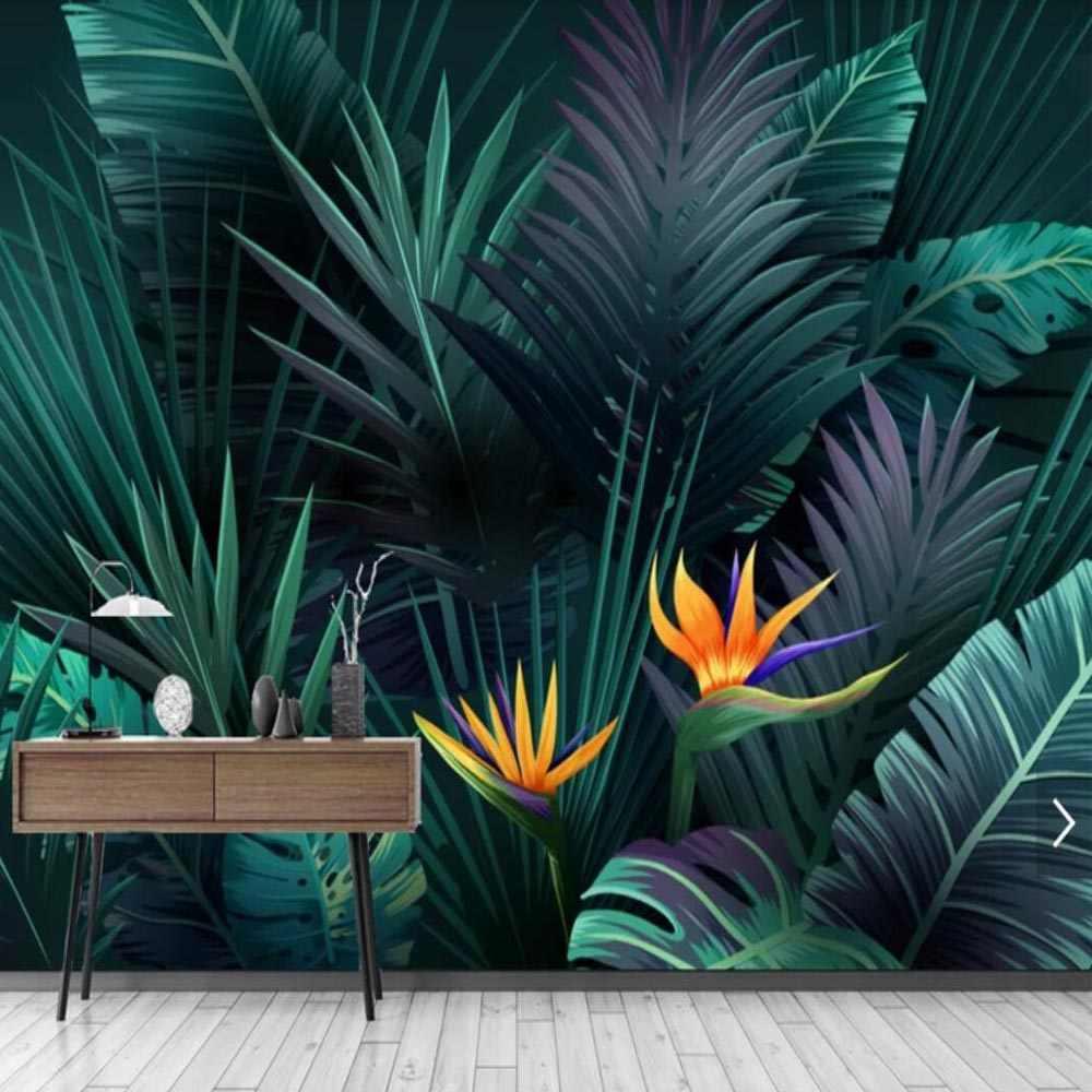 HD Abstrak Tanaman Hutan Hujan Daun Pisang Daun Foto Mural Wallpaper untuk Dinding Ruang Tamu Dekorasi.jpg q50