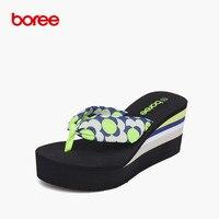 Boree Summer Women S Sandals Fashion Flip Flops Casual Shoes Soft Chiffon Dot Decor Non Slip