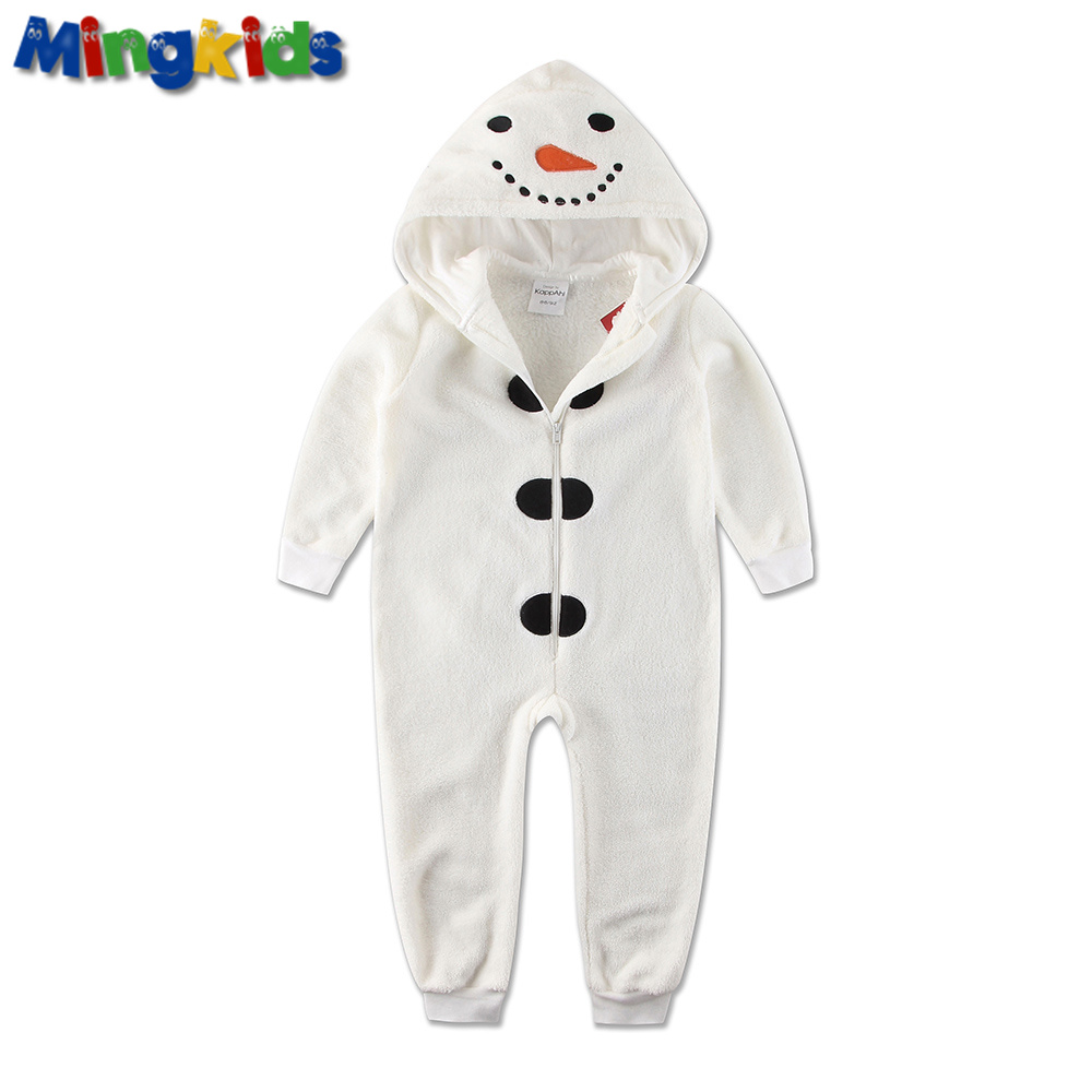 Mingkids Jumpsuits Søyle Pyjamas Snømann Kostyme Cosplay Baby Gutt Varm Fleece Winter Pijamas Rompers Hooded Christmas